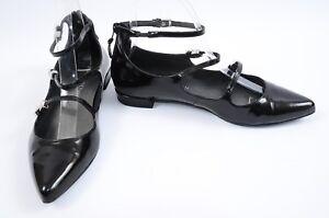 Stuart-Weitzman-Flippy-black-7-5-buckle-strappy-mary-jane-ballet-flat-shoe-398