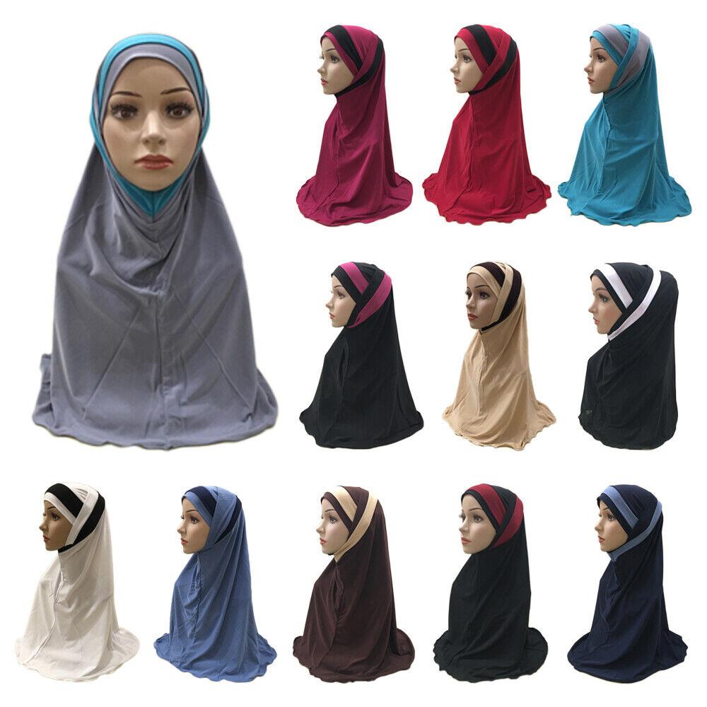 Arab Indian Muslim Amira Hat Hijab Head Wrap Instant Headscarf Islamic 2 Pieces
