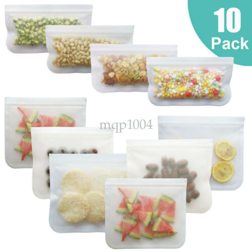 Food Storage Bags Silicone Food Grade Preservation Freezer Bags Reusable Set New