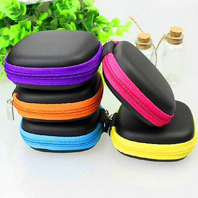 Mini Pocket Hard Case Handy Zipper Storage Bag For Earphone Earbuds SD Card