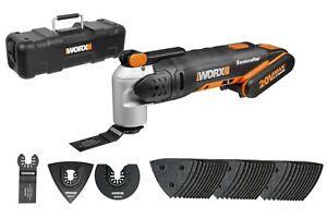 WORX 20V Sonicrafter Multi Tool Oscillating Hyperlock, 39 piece kit, Tool Box