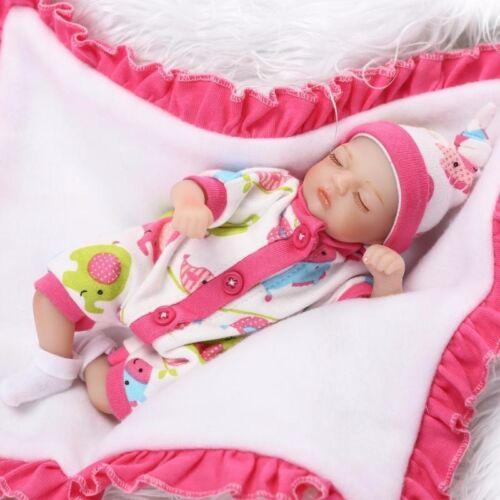 8 Mini Reborn Baby Girl Doll Soft Silicone Vinyl Lifelike Newborn Doll Gift