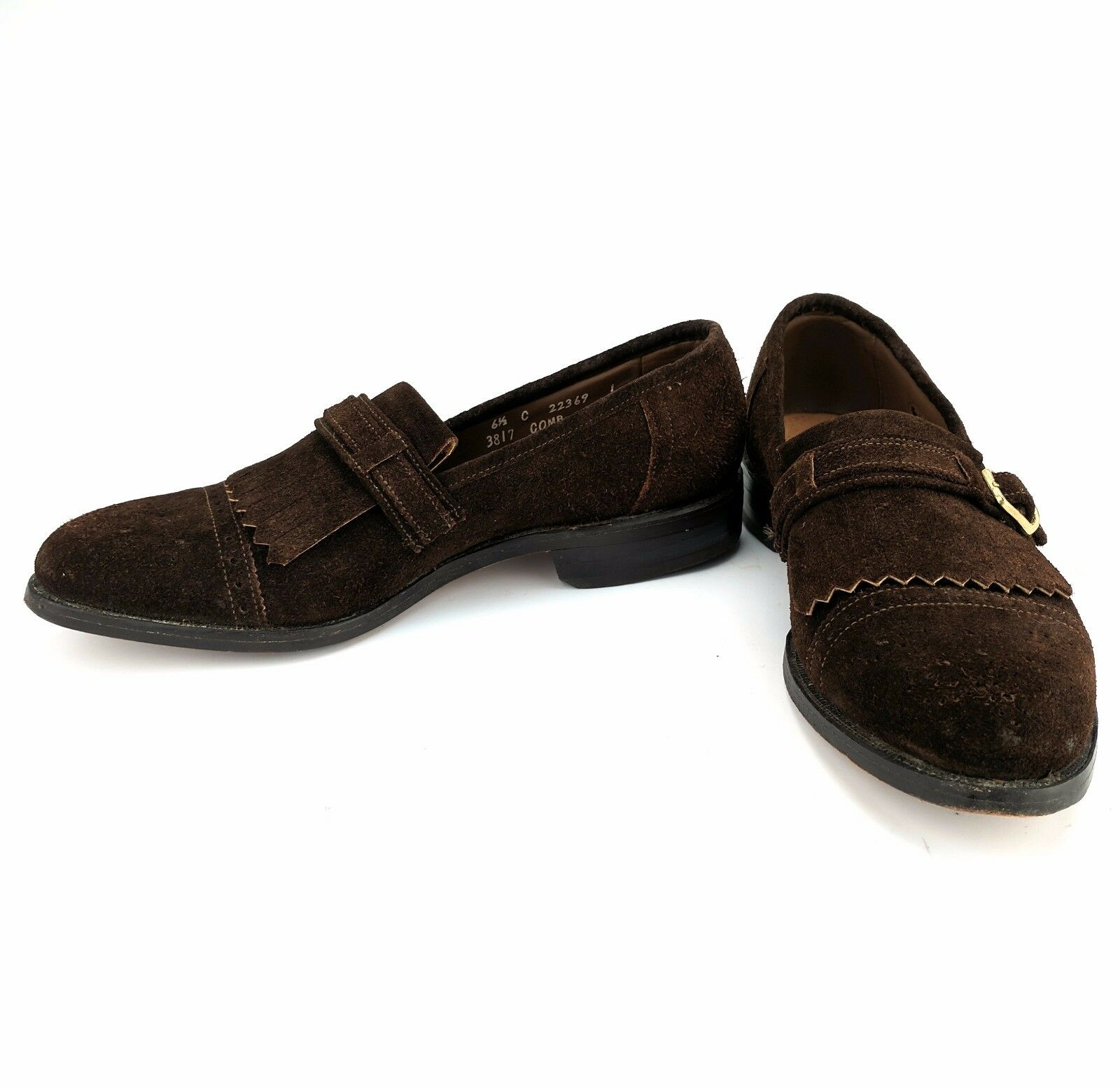 Allen Edmonds Montague Montague Edmonds Braun Suede Loafer Brogue Cap Toe Kiltie Monk Strap 6.5C abbb93