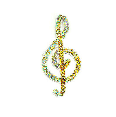 """Gold Sequin Iron On Applique Patch Musical Cleft Note 1 5//8/""""H Music"""