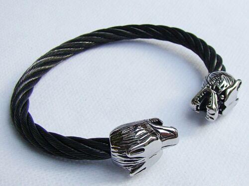 Joyería para Hombre de Acero Inoxidable Pulsera Negro Tono Trenzado Cable Wolf