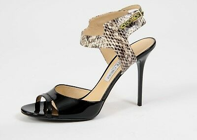 NEW Jimmy Choo Shoes Marcia Snake Pattern Ankle Wrap Sandals Heels Size 40.5 10