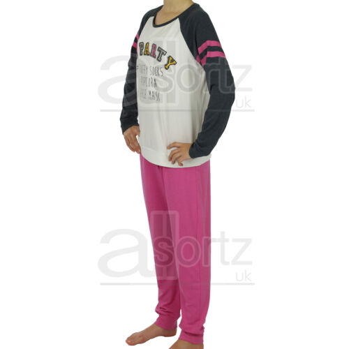 New Girls Uk Store Grey /& Pink PJ  Party Sparkle Hashtag Pyjamas Age 6-12 Pyjama