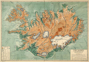 1928-Map-Iceland-Physical-Political-Wall-Art-Poster-Print-Decor-Artwork-Island