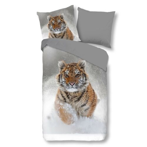 good morning Bettwäsche 2052 Snow Tiger grey Schnee Tiermotiv