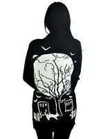 Too Fast EERIE CEMETERY LONG Black CARDIGAN Graveyard Moon Bats RIP Alternative*