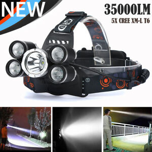 35000-LM-5X-XM-L-T6-LED-Rechargeable-Headlamp-Headlight-Travel-Head-Torch