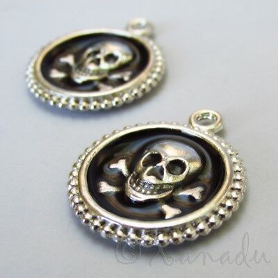 Skull And Crossbones 27mm Black Enamel Silver Plated Charm C2235B 1 2 Or 5PCs