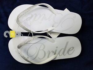 db7cefb4edb bride flip flops White glitter silver size small 5 6 wedding bridal ...