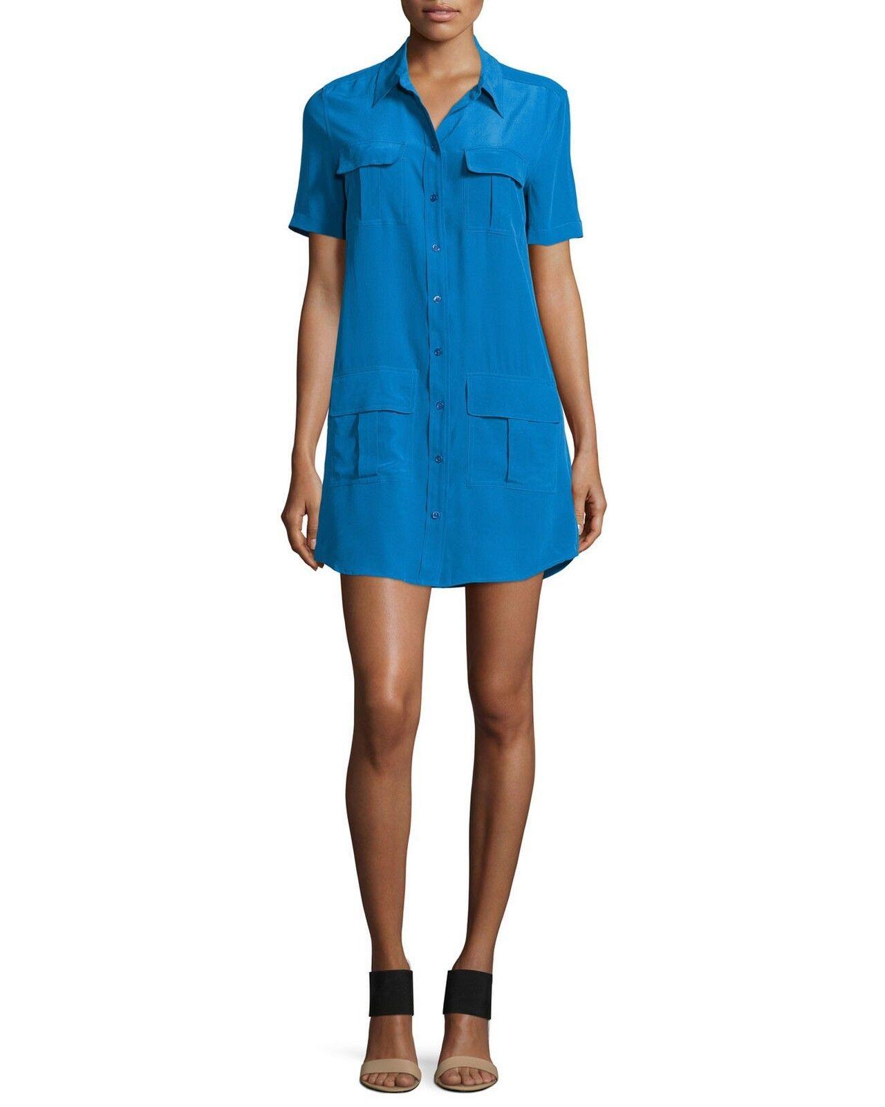70% OFFNWT Equipment Remy 100% Silk Utility Shift Shirt DressMediumbluee 258