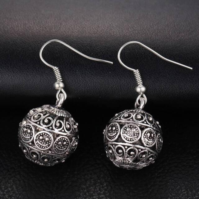 Silver Color Jewelry Women Drop Minimalist Long Dangle Earrings Ball Antique