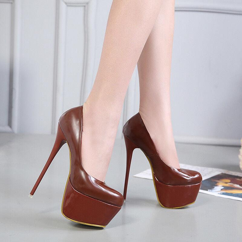 Damen Schuhe Stiletto Gr34-40 High Heels Neu HOHER Abendwear Rund Platfrom Sehr HOHER Neu 042d62