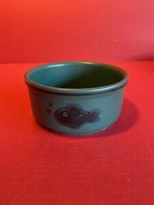 Pfaltzgraff 806 Dark Green Fish Pattern Cat Dog Pet Bowl