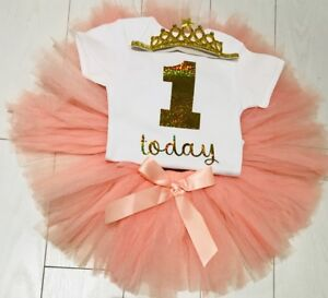 Girls 1st First Birthday Outfit Peach Tutu SkIrt Cake Smash Outfit Birthday Set