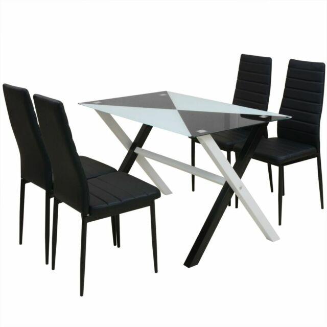 242940 vidaXL Set tavolo e sedie da pranzo 5 pz in Pelle Artificiale