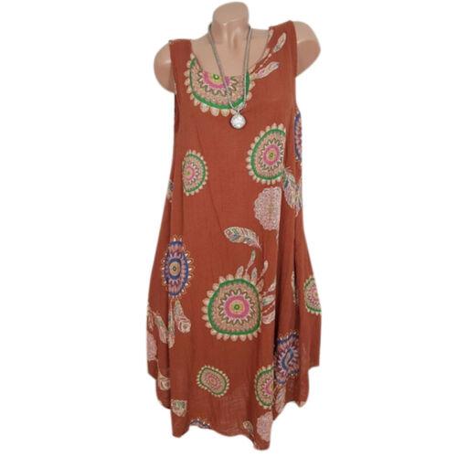 Womens Boho Floral Sleeveless Ladies Summer Loose Plus Size Tunic Dress Long Top