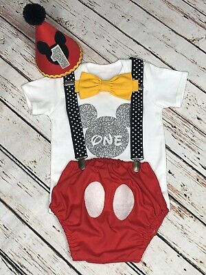 Baby boys Mickey Mouse smash cake,1st birthday outfit Handmade Cake smash boy