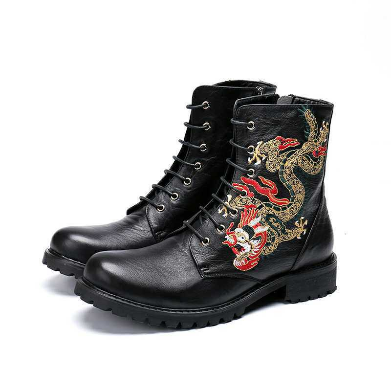 Men Leather Business Punk New Embroidery Lace up Knight Ankle Boot Formal shoes