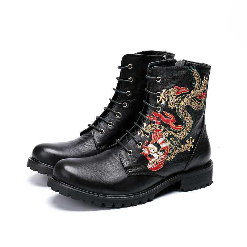 Hommes en Cuir Affaires Punk Nouveau Broderie Lace Up Knight Bottines Formelle Chaussures