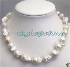 Pretty Large 15-23mm Natural White Baroque genuine Pearl women's Necklace 18""