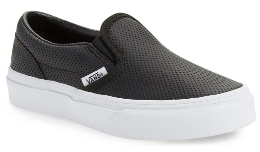 VANS Classic Slip on Perf Leather Black Kids Shoes Size 4
