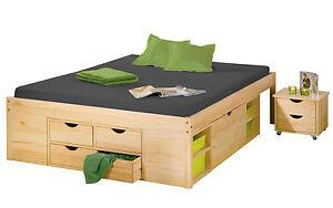 bett 140x200 cm doppelbett stauraumbett funktionsbett natur rost kiefer massiv ebay. Black Bedroom Furniture Sets. Home Design Ideas
