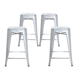 Prime Details About Set Of 4 Grey 26 Inch Counter Height Metal Bar Stools Indoor Outdoor Unemploymentrelief Wooden Chair Designs For Living Room Unemploymentrelieforg