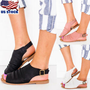 US-WOMEN-SLINGBACKS-GLITTER-PEEP-TOE-MULES-FLAT-SANDALS-SUMMER-CASUAL-SHOES-SIZE