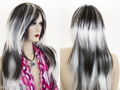 Long Straight Streaked, Full Volume Costume Fun Color Wigs