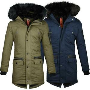 Geographical-Norway-calde-Uomo-Giacca-Invernale-Outdoor-Funzionale-Parka-Pelliccia-Sintetica