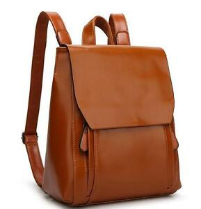 New Womens Leather Messenger Bag School Travel Book Backpack
