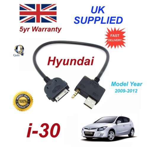 For Hyundai i30 iPhone 3gs 4 4s iPod USB /& 3.5 mm Aux Audio Cable MY 2009-2012
