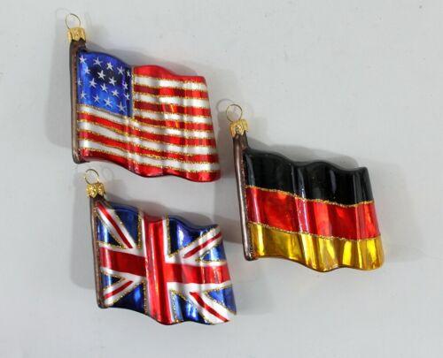 Flagge Fahne Christbaumanhänger Weihnachten Schmuck Glas Deutschland USA GB