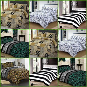 Luxury 100/% Egyptian Cotton Printed Duvet Cover Sets//Quilt Beddng Sets All Sizes