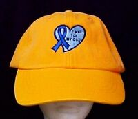 Blue Ribbon Heart Baseball Hat I Walk For My Dad Cancer Awareness Orange Cap