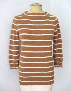 J Crew brown cream stripe 100% Italian cashmere sweater tall scoop neck S
