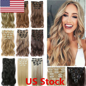 US New Women Full Head Clip in Hair Extensions Clips Real Long ... 9f9a6979f0