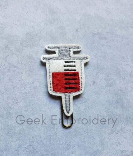 Planner Clip Medical Badge Reel Glitter Syringe Feltie Phlebotomist Lanyar