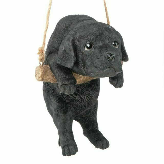 Design Toscano Yellow Lab Puppy on a Perch Hanging Dog Sculpture