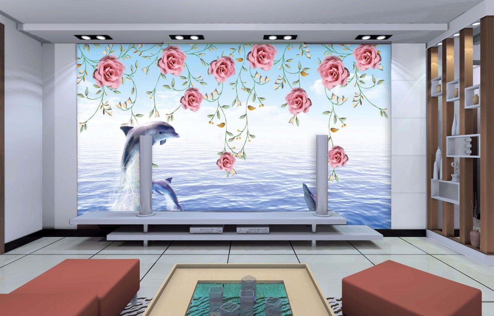 3D Jumping Flower Dolphin  Wall paper Decal Dercor Home Kids Nursery Mural  Home