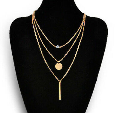 hot Women Chic Geometry Charms Crystal 3 Layers Simple Gold Chain Necklace
