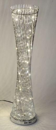 660916 Lampe rund gedreht 25 x 100cm aus glänzendem Aluminium mit LED Licht