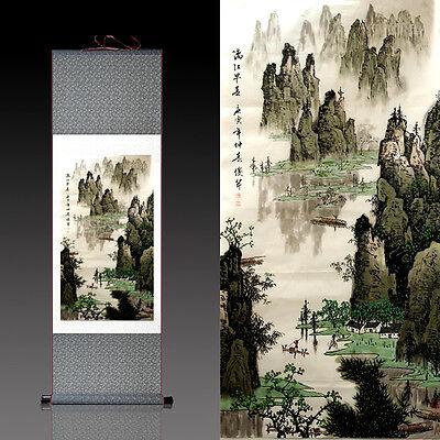 桂林漓江 Chinese Silk Scroll Painting Guilin lijiang River Home Office Decoration