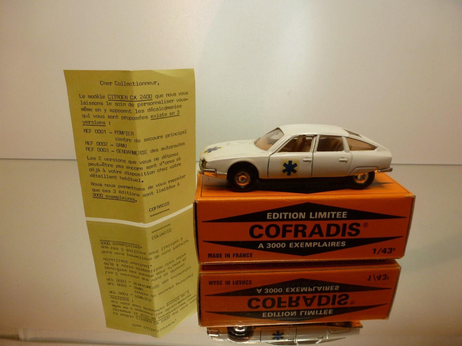 SOLIDO COFRADIS 0003 CITROEN CX 2400 2400 2400 SAMU - WHITE 1 43 - VERY GOOD IN BOX 34fd86