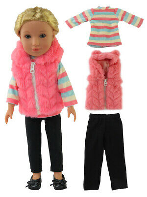 """Zebra Puffer Vest Pant Set Fits American Girl 14.5/"""" Wellie Wisher Doll Clothes"""
