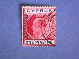 Cyprus-1904-KEVII-1pi-Carmine-amp-Blue-SG64-Wmk-Mult-Crown-CA-P14-Used